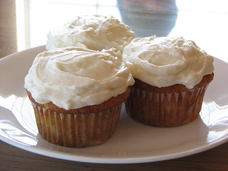 banana cupcakes with honey frosting