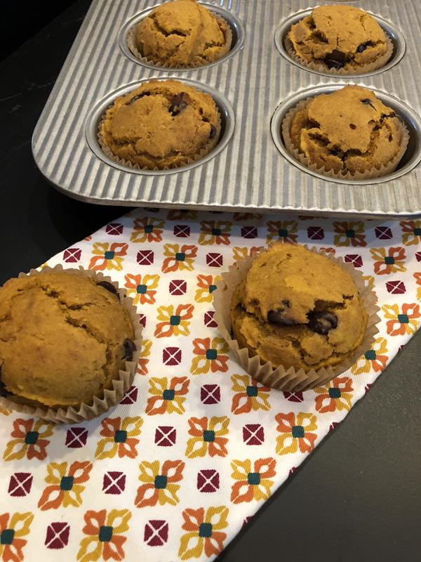 Pumpkin Chocolate Chip Muffins on napkin