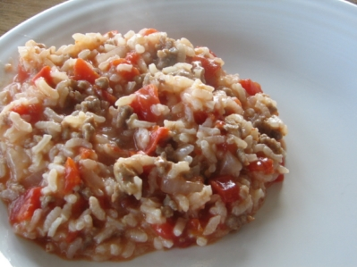 oven risotto with tomatoes and sausage