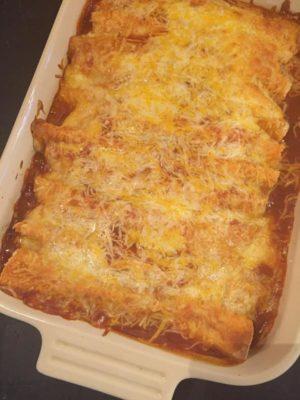 Three Cheese Beef Enchiladas in dish