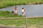 kids in pond