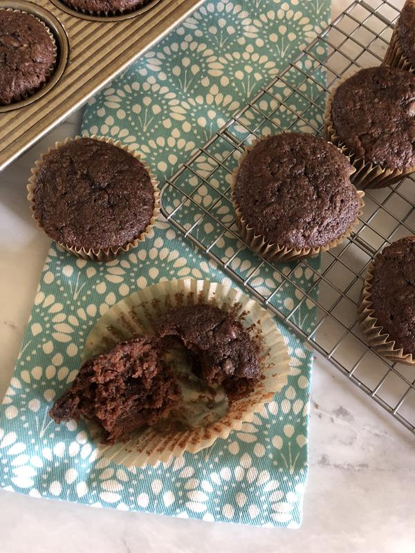 Chocolate Whole Wheat Zucchini Muffins