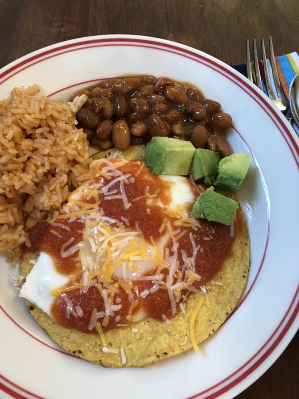 Huevos Rancheros with beans and rice