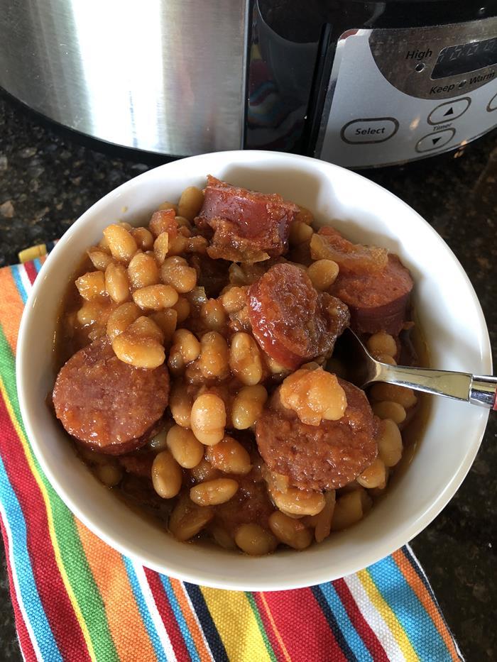Crock Pot Baked Beans and Sausage