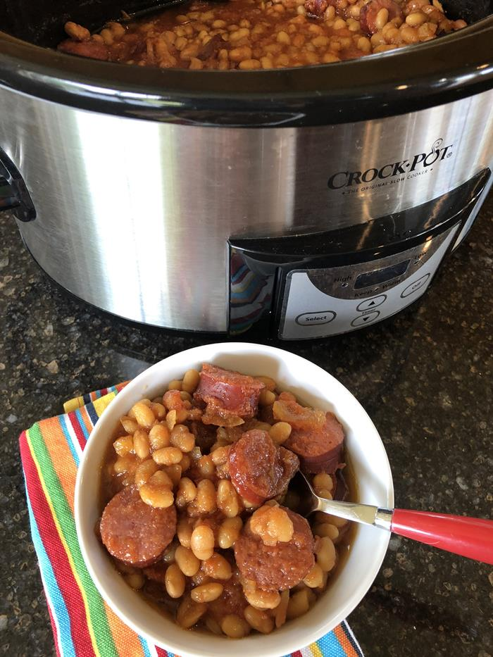 Crock Pot Beans and Sausage