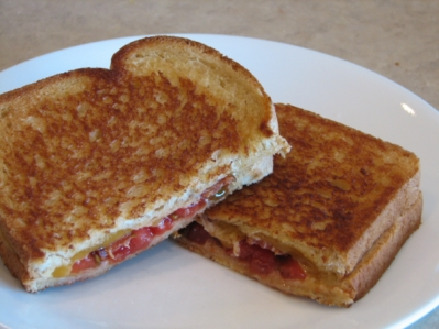 bacon, tom, cheese sandwich