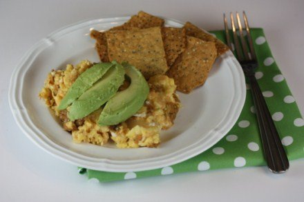 Migas with Avocados and Way Better Sweet Potato Tortilla Chips