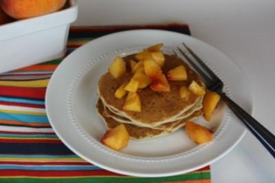 gluten free peaches and cream pancakes