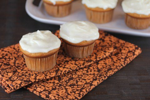 Butterscotch Pumpkin Cupcakes from LynnsKitchenAdventures.com