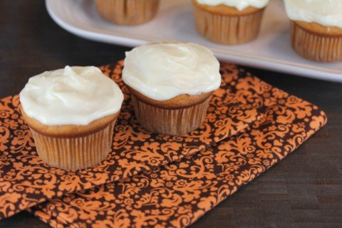 Butterscotch Pumpkin Cupcakes with Cream Cheese Frosting from LynnsKitchenAdventures.com