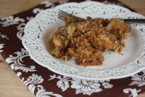 Slow Cooked Caramel Apple Crisp is perfect for fall.