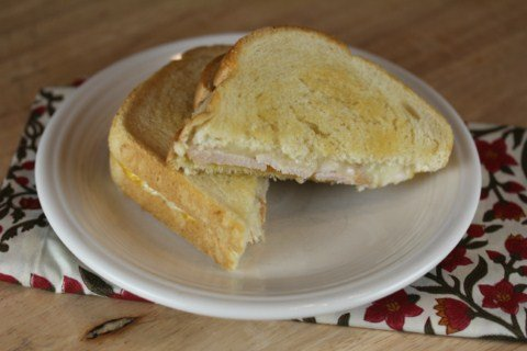 Grilled Honey Mustard Turkey Cheese Sandwich- Perfect for Thanksgiving leftovers from LynnsKitchenAdventures.com