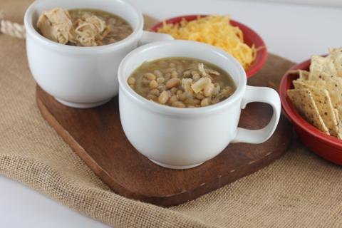 Crock Pot White Chicken Chili from LynnsKitchenAdventures.com