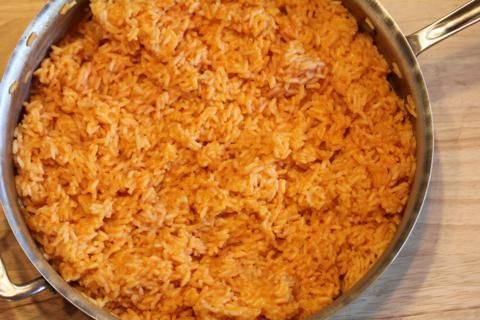 Cheesy Mexican Rice from LynnsKitchenAdventures.com