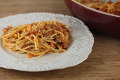 Pepperoni Spaghetti Pie