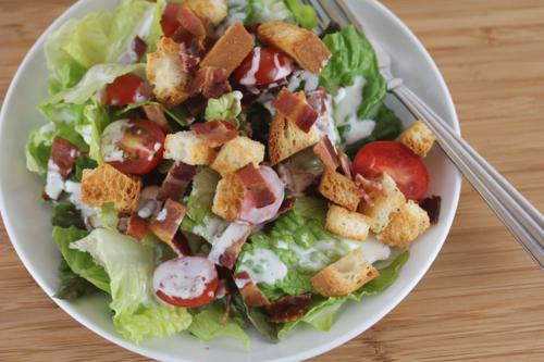 Homemade Croutons on a BLT Salad