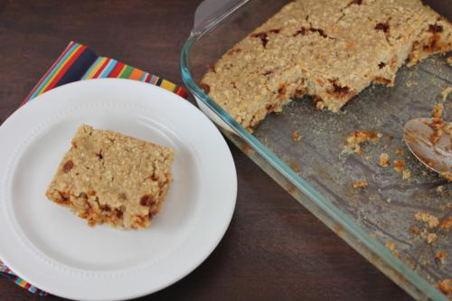 banana cinnamon baked oatmeal in a pan and one a white plate