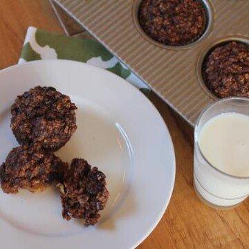 Chocolate Banana Oatmeal Breakfast Muffins