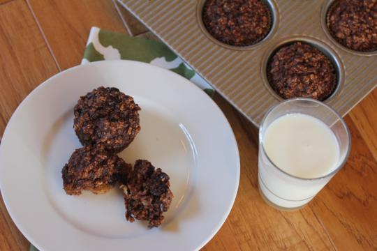 Chocolate Banana Oatmeal Breakfast Muffins