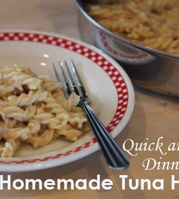 homemade tuna helper in a pan
