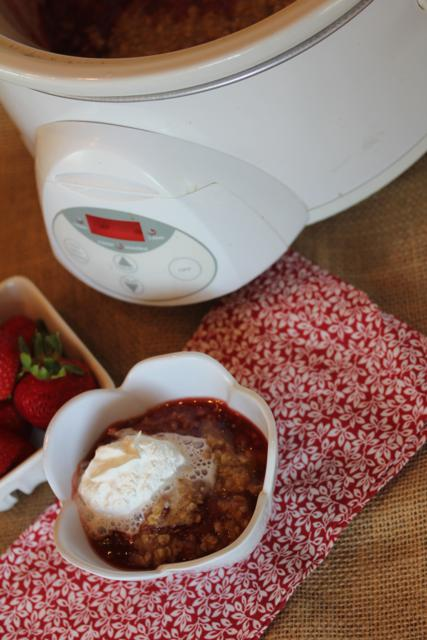 Slow Cooked Strawberry Cobbler_