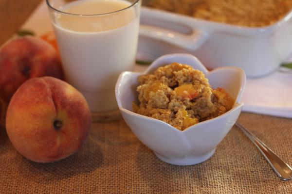 Peaches and Cream Baked Oatmeal -