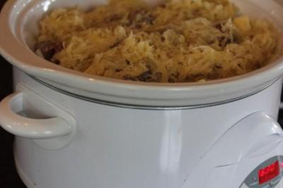 Slow Cooked Sausage, Sauerkraut, and Potatoes-
