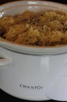 Slow Cooked Sausage, Sauerkraut, and Potatoes