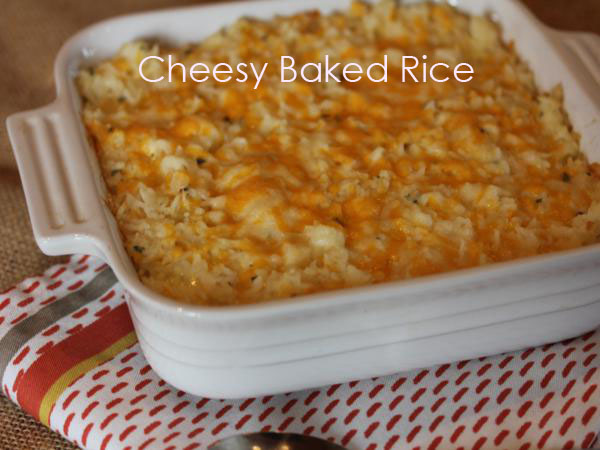 Cheesy Baked Rice {A Simple Side Dish}