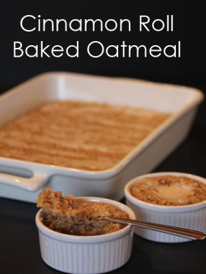 Cinnamon Roll Baked Oatmeal from LynnsKitchenAdventures.com