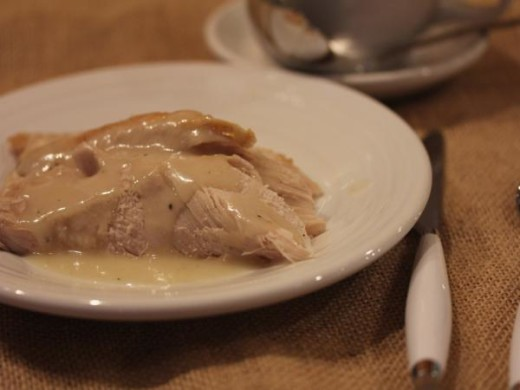 Turkey, mashed potatoes, and gluten free gravy
