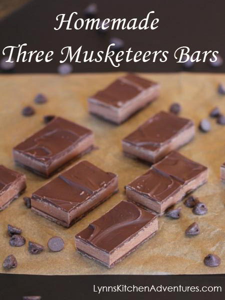 Homemade Three Musketeers Bars from LynnsKitchenAdventures.com
