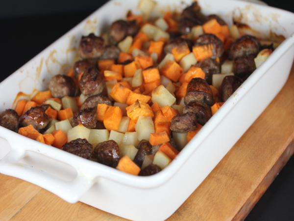 maple sweet potatoes and sausage_