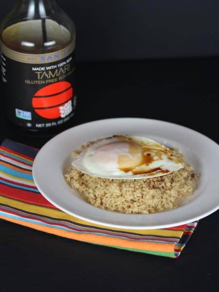 Eggs and Soy Sauce over Quinoa-