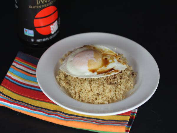 Eggs and Soy Sauce over Quinoa