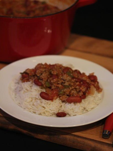 Simple Sausage and Beans Over Rice-
