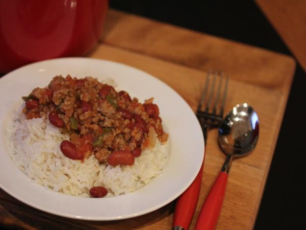 Simple Sausage and Beans Over Rice