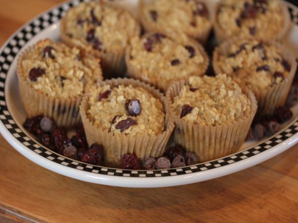 Dark Chocolate Cherry Breakfast Muffins-