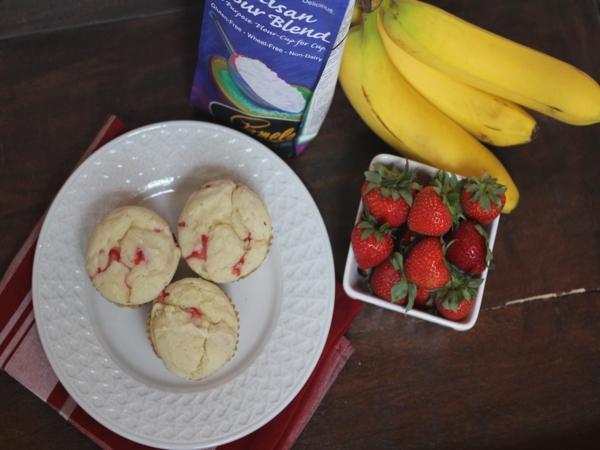 Strawberry Banana Pancake Muffins with Pamela's Artisan Flour Blend