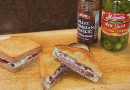 Double Meat and Cheese Olive Sandwich--