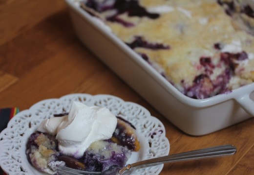 Easy Blueberry Peach Cobbler_