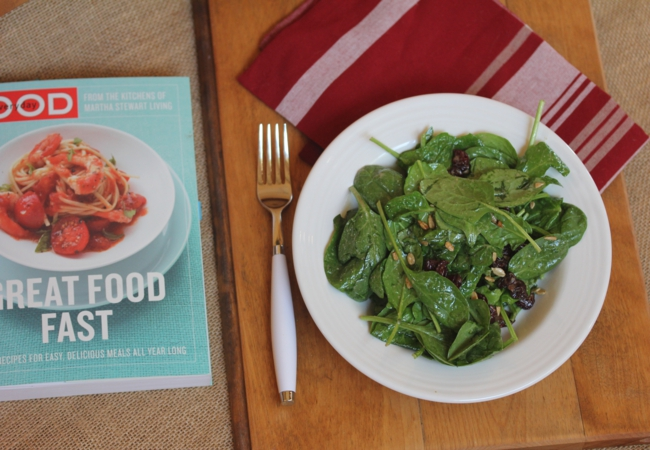 Spinach Salad with Dried Cherries-