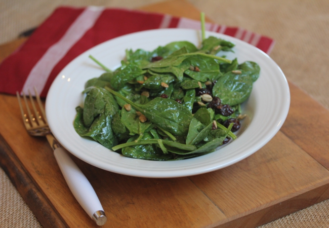 Spinach Salad with Dried Cherries_