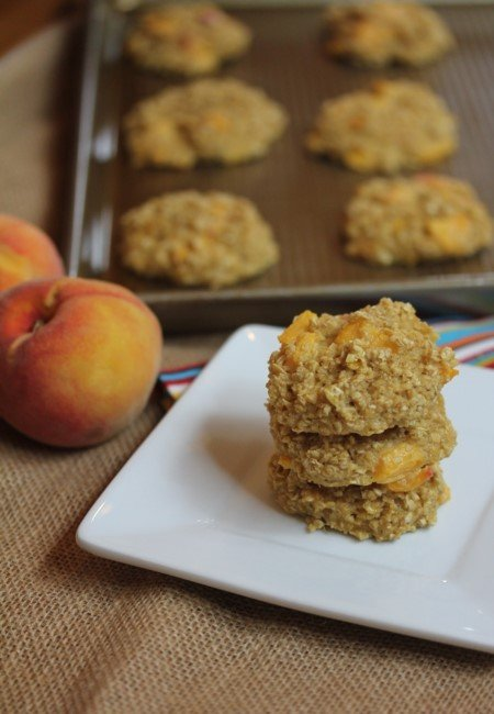 Peaches and Cream Baked Oatmeal Breakfast Cookies-
