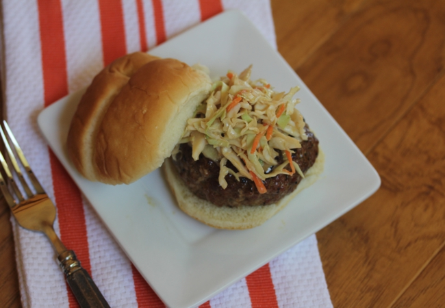 Pork Burgers with Asian Cole slaw