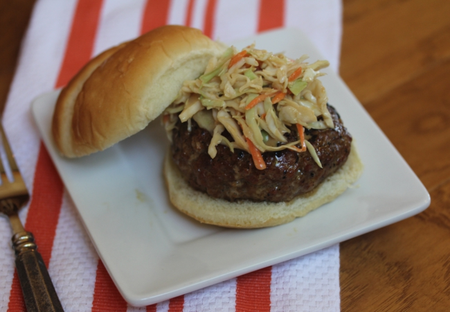 Pork Burgers with Asian Coleslaw