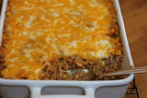 Beef Enchilada Rice Casserole-