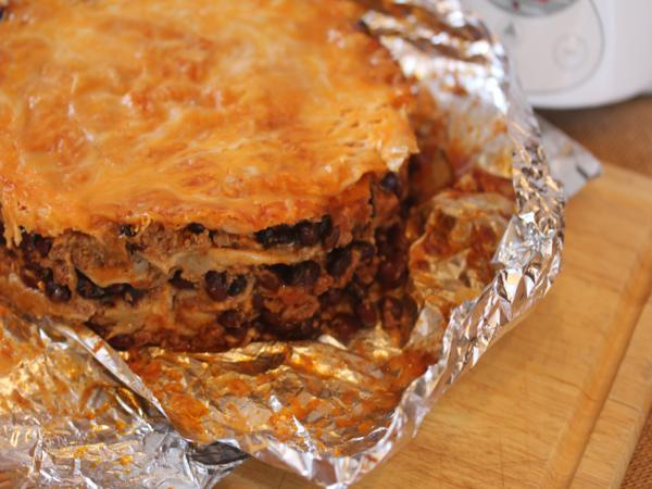 Easy Slow Cooked Mexican Lasagna -