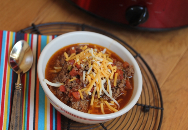 Slow Cooked Homemade Chili without Beans-