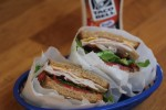 Turkey Bacon Tomato Cheese and Avocado Sandwich with Spicy Ranch Dressing-